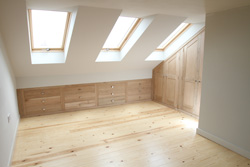Loft conversion with oak fitted furniture